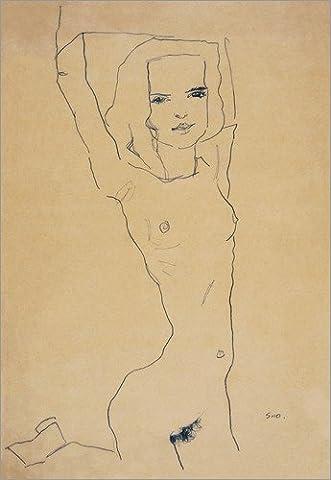 Impression sur bois 30 x 40 cm: Nude Girl With Arms Raised de Egon Schiele