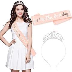 Idea Regalo - Howaf Buon 18 ° Compleanno Fascia e Compleanno 18 Tiara cerchietti per Oro Rosa 18 Anni Compleanno Decorazioni Ragazza Donna Regalo di Compleanno