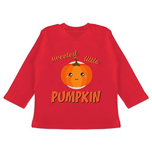 (Anlässe Baby - Sweetest Little Pumpkin Halloween - 3-6 Monate - Rot - BZ11 - Baby T-Shirt Langarm)