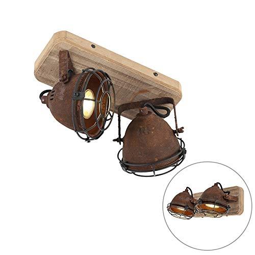 QAZQA Industrial Plafón robusto óxido placa de madera 2 focos - GINA/Metálica...