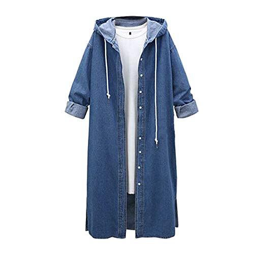 Manteau en Denim Femme Long, Dames Casual Manche Longue Hoodie Veste en Jean Outwear à Capuche BaZhaH