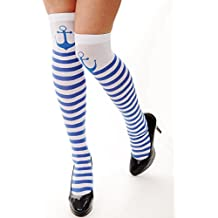 DRESS ME UP - W-034 Medias rayadas Carnaval azul blanco navegante marinera ancla