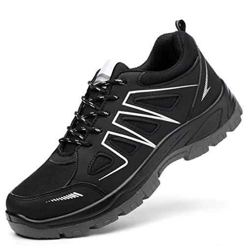 JIEFU Arbeitsschuhe Herren S3 Leicht Stahlkappe Damen Sicherheitsschuhe Anti-Smashing Atmungsaktiv Work Shoes,Black,47EU