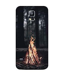 PrintVisa Designer Back Case Cover for Samsung Galaxy S5 Mini :: Samsung Galaxy S5 Mini Duos :: Samsung Galaxy S5 Mini Duos G80 0H/Ds :: Samsung Galaxy S5 Mini G800F G800A G800Hq G800H G800M G800R4 G800Y (Fire Campfire Night Wood Light Dark)