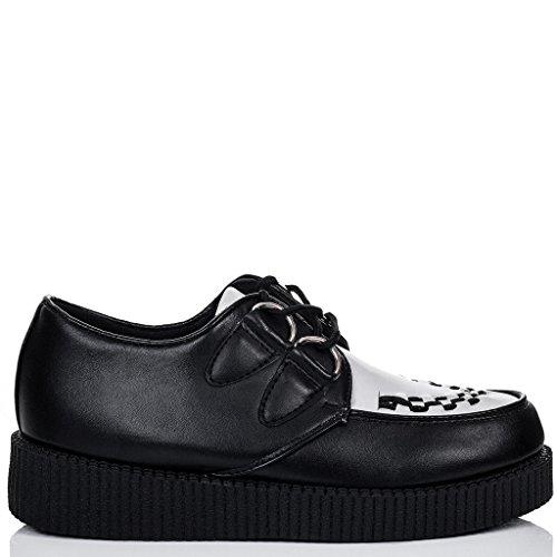 SPYLOVEBUY JOSEPHINE Femmes Lacet Plateforme Plates Chaussures Creeper Noir Blanc - Similicuir