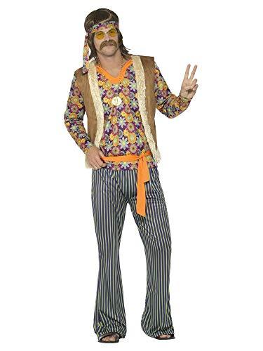shoperama 60s Hippie Sänger Herren-Kostüm Hose Top Weste Stirnband Gürtel 70er Jahre Seventies Sixties Flower Power Festival, - Sänger Kostüm