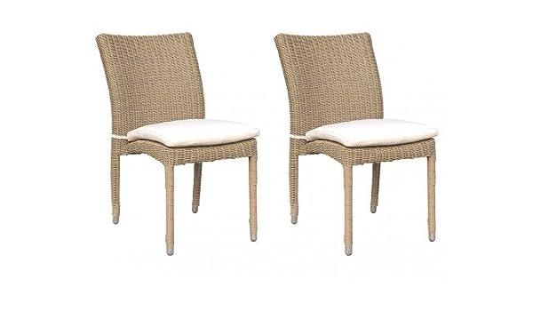 Lot de 2 chaises de jardin WHITEHEAVEN en résine tressée ...
