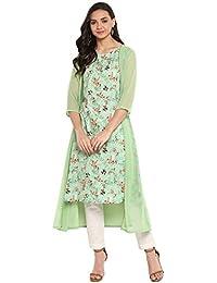 Janasya Women's Green Crepe Kurta