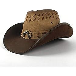 Accesorios de Vestir Clásico Retro 100% Cuero Sombreros de Vaquero Mujeres Hombres Western Fedora Hat For Dad Gentleman Lady Sombrero Hombre Panama Jazz Gorras Unisex Sun Hat