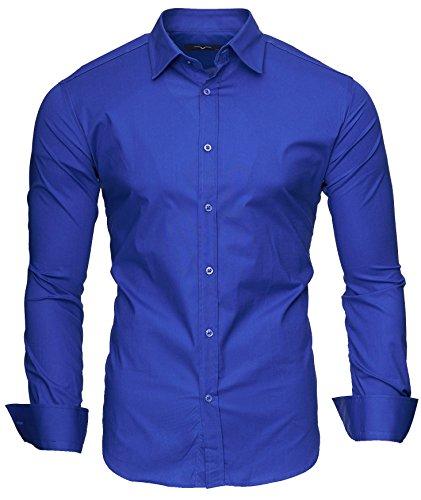 KAYHAN Langarmhemd Slim Fit 20 Farben zur Auswahl S-XXL Blau (M)