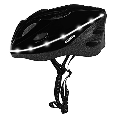 ACRATO Fahrradhelm Radhelm Led-Fahrradhelme mit Sicherheitszertifikat Bike Helm mit LED Beleuchtung für Erwachselne Unnisex Schwarz