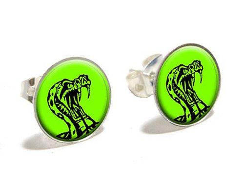 Rattlesnake Schlange auf Grün–Cobra Neuheit versilbert (Kostüme Cobra Schlange)