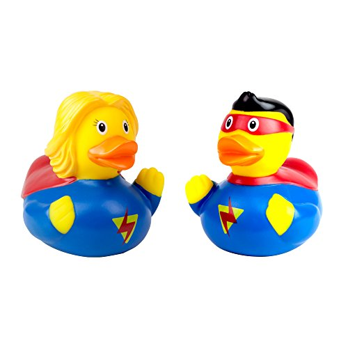 Lilalu Quitscheenten Super Hero Paar Mann und Frau Held Bade Enten Gummiente Set