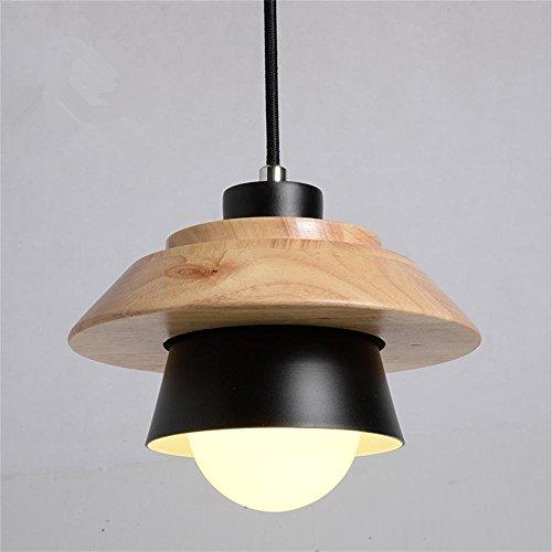 Bein Nuss (XCJjJ Umwelt Kronleuchter, skandinavischen modernen minimalistischen kreative Persönlichkeit Nüsse Holz einzigen Kopf Eisen kleine Kronleuchter schwarz optional Effizienz: A +++,Black)