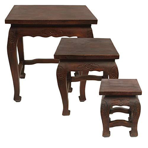 Mahagoni Höhe (Kleiner Hocker Tisch Holzhocker Beistelltisch Nachttisch Blumenhocker 30 cm Höhe Eckig Akazien Holz Barock Massiv Mahagoni)
