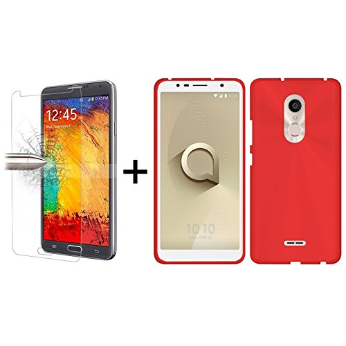 TBOC® Pack: Rot Gel TPU Hülle + Hartglas Schutzfolie für Alcatel 3C 5026A 5026D (6.0 Zoll) - Ultradünn Flexibel Silikonhülle. Panzerglas Displayschutz in Kristallklar in Premium Qualität.
