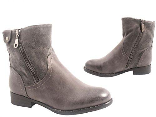Elara Damen Stiefeletten | Bequeme Zipper Boots | Blockabsatz Lederoptik Grau