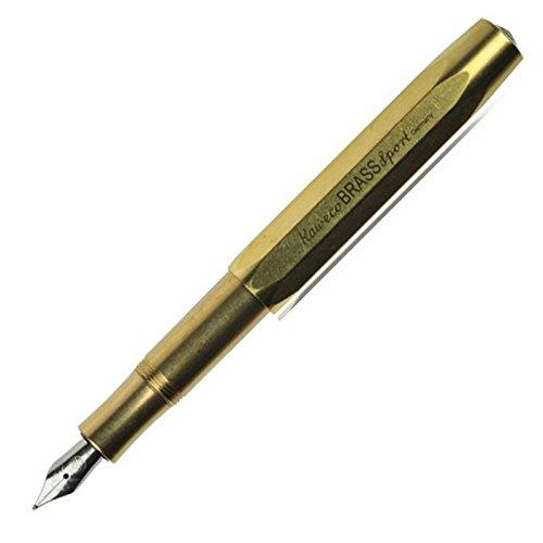 Kaweco Füllfederhalter Brass Sport mit 23 KT vergoldeter Stahlfeder und Iridiumspitze für Tintenpatronen I Kaweco Sport Füller 13,5 cm Federbreite: M (Medium)