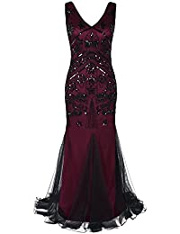 PrettyGuide Women's 1920s Prom Gown Flapper Long Mermaid Formal Evening Dress