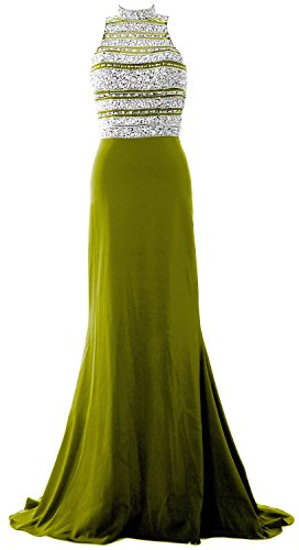 MACloth Women Crystal Beaded Mermaid Long Prom Dress Formal Evening Party Gown Olive Green
