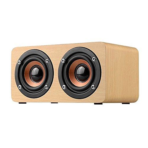 elecfan Stereo Kabellos Bluetooth 4.2 Lautsprecher Boxen Aus Premium Holz, Outdoor Extra Bass Wireless Speakers Musik Palyer Musik Sound Box für PC Computer Handy Fernseher Laptop MP3 MP4 - Helles Holz