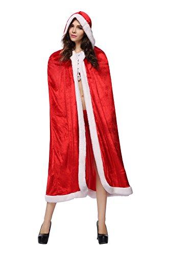 Mebarra Sankt Nikolaus Kostüm für Frauen Weihnachtsmann Kostüm Kapuze Cape - Einheitsgröße (Rotem)