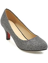 Europäische und amerikanische Frühling und Sommer Damen Schuhe bemalte Leder Tipp groß, hell, Schuhe mit hohen Absätzen, Schwarz, 43