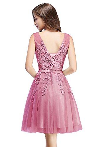 Damen A-Linie Tüll V-Ausschnitt Abschlusskleid Perlstickerei Prom Dress Short Rückenfrei Kurz...