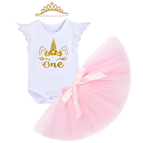 1. Geburtstag Outfit Neugeborenen Prinzessin Kleid für Geburtstagsparty Cake Smash Foto Strampler + Tutu Rock + Krone Stirnband 3pcs Bekleidungssets für Säugling Kinder 6-18 Monate (Halloween-party-stadt)
