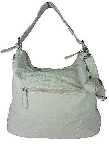 Shopper Susan, große Damen Tasche, Schultertasche in versch. Farben mit langen Trageriemen, ideal auch als Schultasche - A4 geeignet, 42x30x18cm (grau weiß) weiß