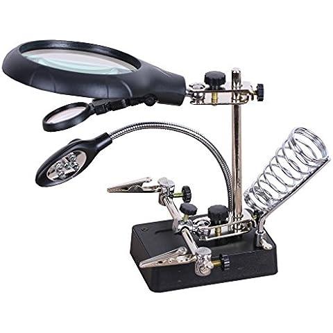 2.5X 7.5X 10X Lente di Ingrandimento con Luci a LED Terza Mano di Saldatura Stand Magnifier