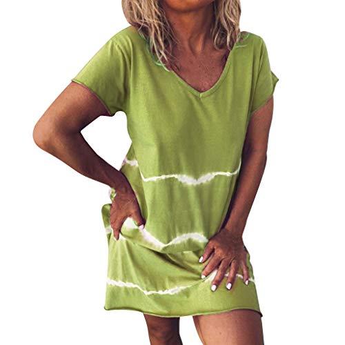 Frauen Kleider, sunnymi ® V-Ausschnitt Kurzarm Tie-Dye Wave Print Lässige Daliy Mini Dress - Baby-schritte Tie Dye