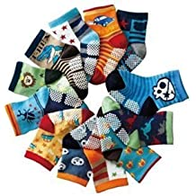 Infantil Bebés calcetines de algodón paquetes de 12 - Pirates Bugs Cars de edad 6 9 12 18 24 meses antideslizante (Talla única)