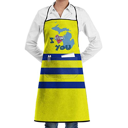 Adjustable Bib Apron with Pocket Love Michigan Detroit Printed Cooking Kitchen Aprons for Women & Men -