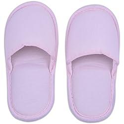 Alomejor - 1 par de zapatillas de viaje plegables con rayas para spa, zapatillas desechables, lavables, de algodón suave, antideslizantes, con bolsa de almacenamiento para viajes, hotel, hogar, rosa, Woman