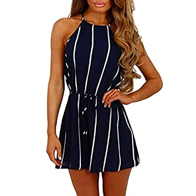 Homebaby Women Stripe Printing Off Shoulder Jumpsuits,Ladies Casual Clubwear Vest Playsuit for Holiday Summer Shorts Pants Rompers Beachwear Outfit Summer Clothes