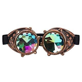AFUT Kaleidoscope Rave Rainbow Crystal Lenses Steampunk Goggles