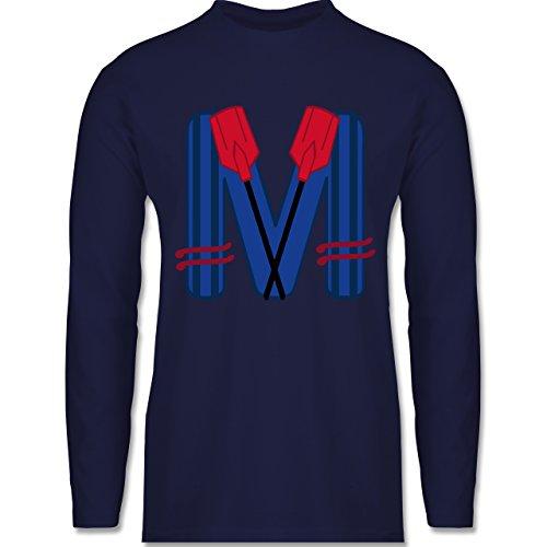 Shirtracer Anfangsbuchstaben - M Schifffahrt - Herren Langarmshirt Navy Blau