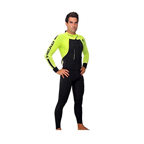 HEAD swimrun Rough Man Wetsuit 4.3.2Herren Tauchanzug, Herren, Schwarz/Gelb, Medium -