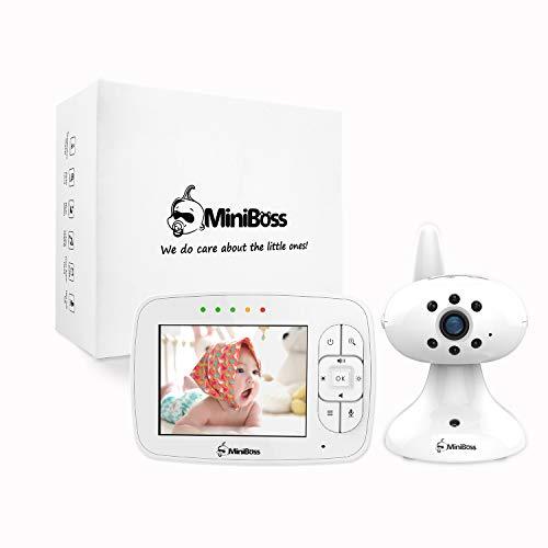 MiniBoss Bébé Moniteur Vidéo Babyphone Sans fil Baby Monitor 3.5' LCD Avec Caméra Vision Nocturne Surveillance de la Température Berceuse