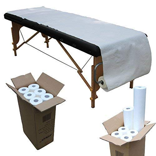 H-ROOT Massagetische Couch Papier Roll Cover Sheets Hochwertige 2 Ply Papierrolle 60cm x 195cm pro Blatt, 80 Meter pro Rolle, 41 Blätter pro Rolle. Idee für Massage-Therapie, Salon, Schönheit, Sportverletzung und Massage. (6) -