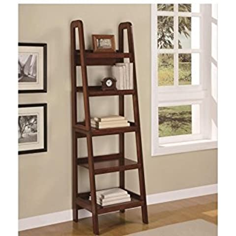 5 Shelf Bookcase, Ladder, Leaning, Mahogany Wood, Tier Wall Shelf, Contemporary Storage Rack by