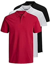 JACK & JONES 3er Pack Herren Poloshirt Slim Fit Kurzarm schwarz weiß blau grau XS S M L XL XXL Einfarbig Gratis Wäschenetz von B46