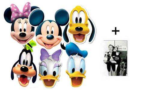 Mickey Mouse und Freunde Karte Partei Gesichtsmasken (Maske) Packung von 6 (Mickey, Donald, Daisy, Pluto, Goofy und Minnie) - Enthält 6X4 (15X10Cm) starfoto