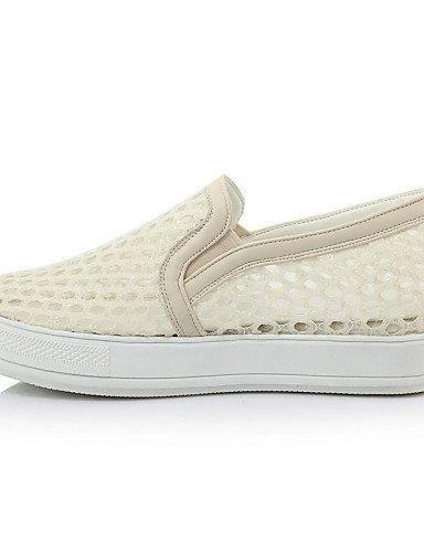 ShangYi gyht Scarpe Donna - Mocassini - Tempo libero / Formale / Casual - Comoda / Punta arrotondata - Plateau - Finta pelle - Nero / Bianco / Beige White