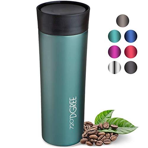 """720°DGREE Thermobecher """"PleasureToGo"""" - 450ml - Edelstahl Kaffeebecher, Auslaufsicher, BPA-Frei - Schlanker Thermo Isolierbecher mit Deckel - Kaffee & Tee to Go - Reisebecher, Travel Mug"""