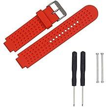Para Garmin Forerunner 230/235/220 Reloj,Xinan Correa de Silicona Reloj de la Venda y Adaptadores Agarraderas (Rojo)