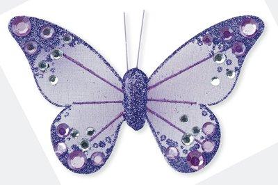 Club Green Organza Papillon avec Clip, Lilas, 100 mm, Lot DE 12