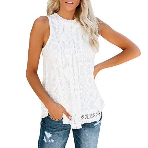 Bellelove T-Shirt Frauen Spitze Rundhals Ärmellose Bluse Sommer Casual Elegant Top Frauen Bluse Schwarz Weiß