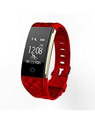 Miavogo S2 Pulsera Inteligente Pulsera Deportiva Inteligente Pulsera Actividad (Ritmo Cardíaco Pulsera Deportes Rastreador de Ejercicios Calidad del Sueño Monitor de Llamada / SMS Recordatorio IP67) Smartband Reloj para Android IOS (Rojo